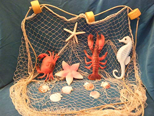 10 X 8 Ft TAN Fish NET with White Starfish, Scollop Shells, Floats, Lobster, Crab, Starfish and Seahorse