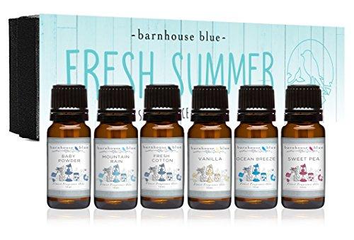 Fresh Summer - Premium Grade Fragrance Oils - Gift Set 6/10ml Bottles - Baby Powder, Fresh Cotton, Ocean Breeze, Sweet Pea, Mountain Rain, Vanilla