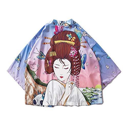 Hombres Mujeres Impresión Haori Camisa del Traje De Cosplay del Japonés del Kimono De Verano sobre El Tema De La Blusa De Calle Yukata ZZBiao (Color : Style B, Size : M)