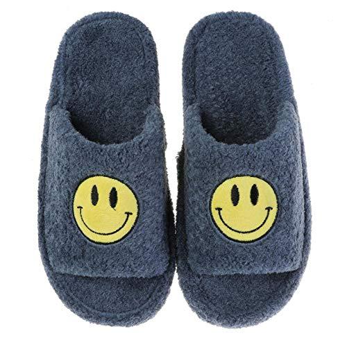 MQQM rutschfeste Slippers Mit Cartoon FüR Herren Damen,Leichte atmungsaktive rutschfeste Hausschuhe, Smileys - tibetisches Blau_42-43,Unisex Warm PlüSch Bequem Slippers