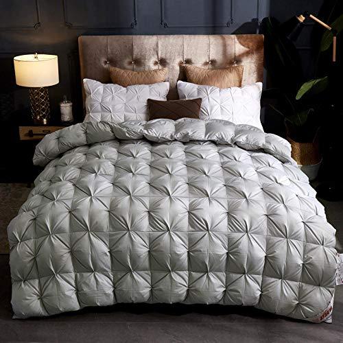 Hahaemall Winter Duvet Pinch Pleat Goose Down Duvet & All Season Duvet/Classic Quilt/Anti Allergy & Warm Comforter-gray_200x230cm-3kg
