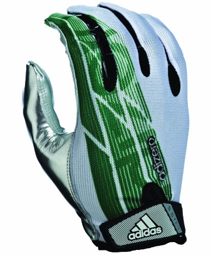 adidas - American Football Receiver-Handschuhe in White/Forest/Silver, Größe XL