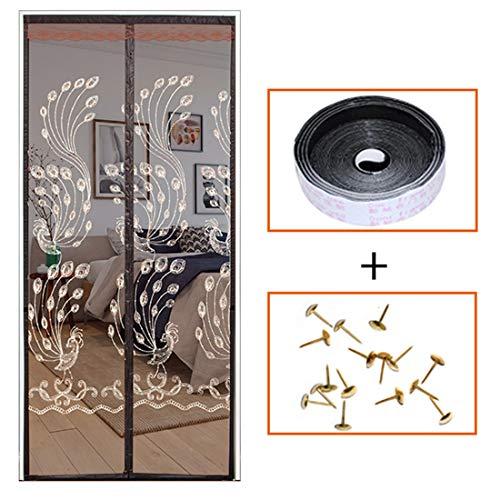 Qianc vliegengaas, magnetisch vliegengaas, deur niet geperforeerd, magnetisch, zelfsluitende insectenbescherming, zilverkleurig borduurwerk