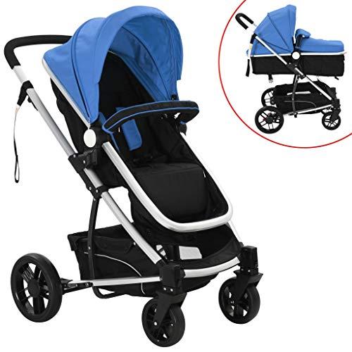 vidaXL Kinderwagen 2in1 Alu Blau/Schwarz Buggy Babywagen Babyjogger Reisebuggy