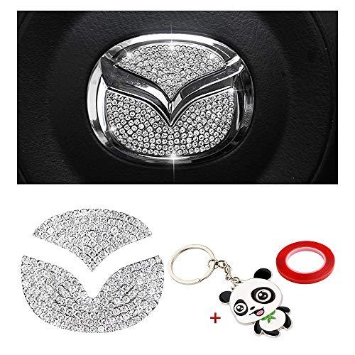 BLINGOOSE per Mazda Volante Copri Emblema Logo Adesivo Accessori Decorativi per Auto in Cristallo per Mazda 3 5 6 8 CX4 CX7 CX8 CX9 MX2 MX3 MX5 Accessorio Argento (Mazd-Steeling)
