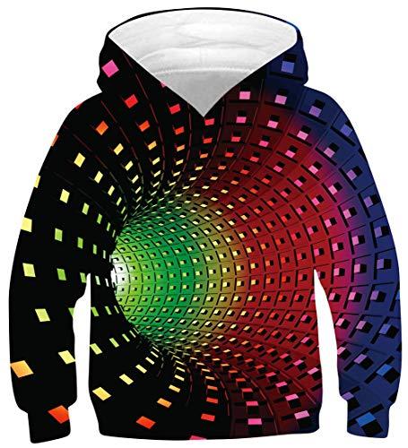uideazone Kinder Pullover 3D Drucken Langarm Hoodies Jungen Mädchen Hoody Sweatshirt mit Taschen 6-16 Jahre