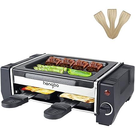 Raclette Mini Appareil Raclette 2 Personnes Machine a Raclette avec 2 Poêlons et 4 Spatule, Température Réglable,Revêtement Antiadhésives, 500W