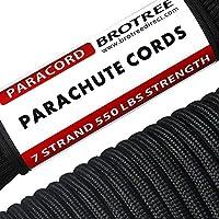 Cuerda de supervivencia para exteriores, cuerda de paracaídas 550 de 7 hebras interiores de nailon, cuerda de paracaídas 100% nailon Mil-Spec tipo III Paracord, negro, talla única