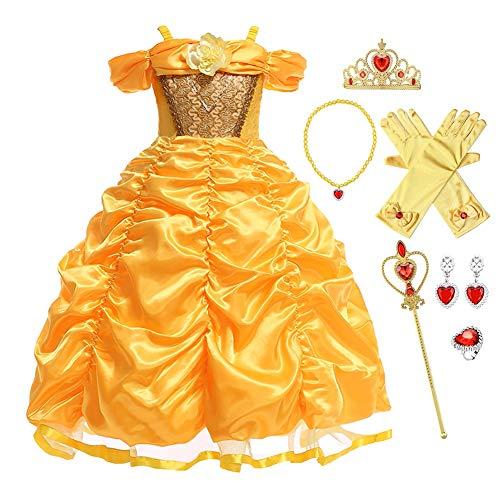FMYFWY Mädchen Karneval Kostüm Belle Prinzessin Geburtstag Kleid Schulterfrei Halloween Cosplay Weihnachten Faschingskostüm Hochzeit Tüll Party Ballkleid mit Accessoires 6-7
