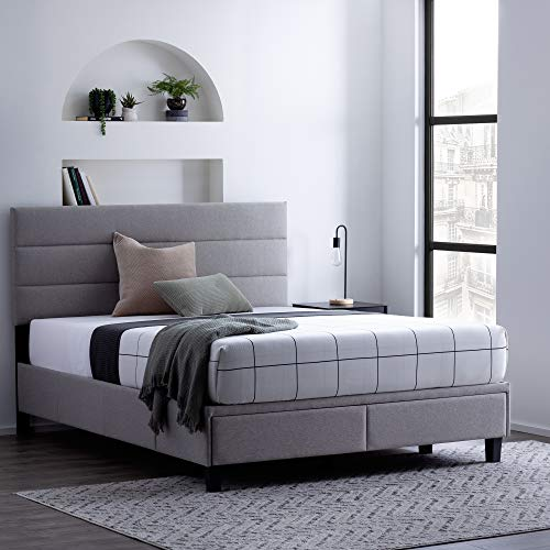 Edenbrook Johnson Upholstered Bed Built-in Drawers-Modern Channel Tufted Headboard- Easy Assembly, California King, Stone