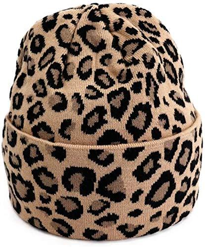 YNLRY Heat Holders - Gorro de punto para otoño e invierno (lana de leopardo, cálido, modelado para correr, pescar/ciclismo (color: el color del pelo de camello, talla: talla única)