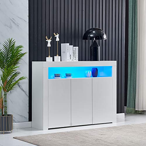 HomeSailing Living Room Sideboard Storage Cabinet White High Gloss with LED Light, Modern Kitchen Unit Cupboard Buffet Wooden Storage Display Cabinet TV Stand with 3 Doors for Hallway Dining Room