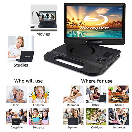 """FANGOR 12.5"""" 1080P Portable Blu-Ray Player with 10.5"""" HD Swivel Screen, HDMI Out & AV in, Multi Media Player, 5 Hours Rechargeable Battery, Supports USB/SD Card, Last Memory, Region Free"""