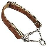 ZEEY Hundehalsband, Leder, Martingalhalsband, Edelstahl, Halskette, klein, mittelgroß, groß, M (33-47cm), braun