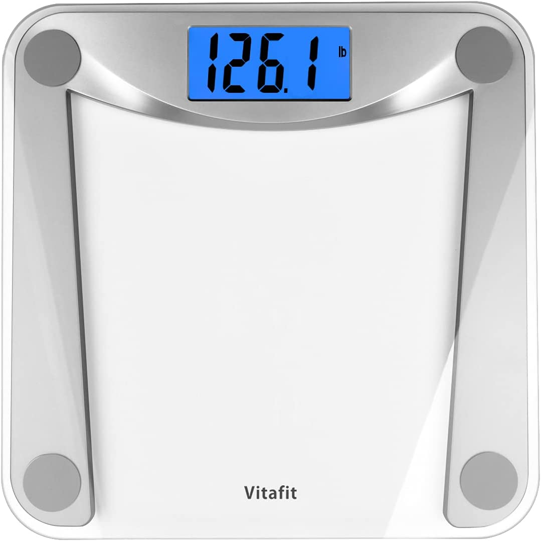 Vitafit Digital Body Weight Bathroom Scale Weighing Scale with Step-On Technology,Extra Large Blue Backlit Display and Batteries Included, 400 Pounds,Clear Glass: Health & Personal Care