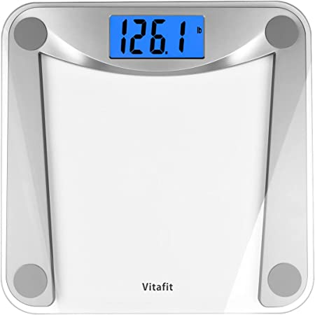Vitafit Digital Body Weight Bathroom Scale Weighing Scale with Step-On Technology,Extra Large Blue Backlit Display and Batteries Included, 400 Pounds,Clear Glass