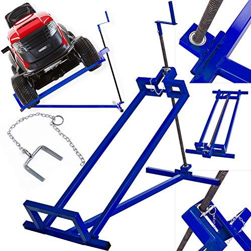 MASKO® XXL Rasentraktorheber 400 kg Hebevorrichtung Hebebühne Aufsitzmäher Reinigungshilfe universal, Rasentraktor-Heber, Rasentraktor +45° Neigung verstellbar Blau