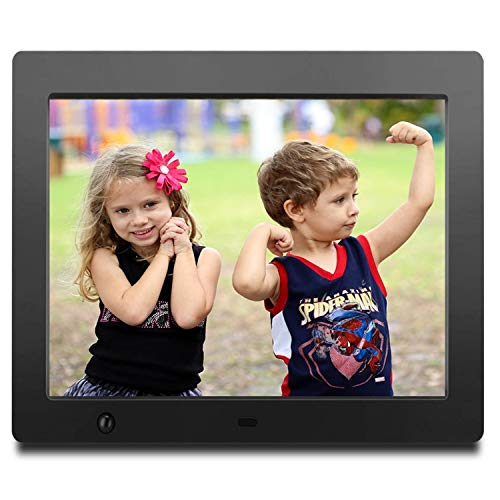 ZTSWKJ Digital Picture Frame 8 inch Full HD Display Photo 180°View Angle,Digital Photo Frame Support Background Music USB SD Slot Calendar Alarm Smart Electronic Picture Frame with Motion Sensor Black Digital Frames Picture