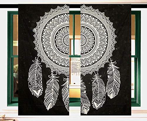 GDONLINE Indian Mandala Curtain Cotton Windoe Door Curtain Black and White Dream Catcher Mandala Window Curtains Drapes Door Hanging Balcony Wall Panel Decor Cotton Curtain Set