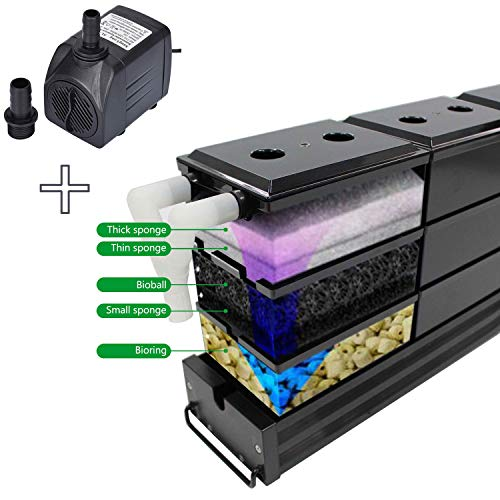 AE-SHOP KZKR Aquarium Filter Pump Set Fish Tank Upper Trickle Box Canister Filter System for 3.4-3.9 Feet Tank with 18 Black Boxes
