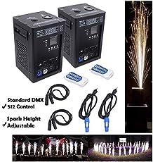 HTTMT- (2Pcs) Indoor Outdoor 500W Cold Spark Firework Machine Stage Special Effect DMX Machine For DJ Wedding Event Party Concert Ceremony Indoor Outdoor Show Fixture [P/N: ET-TOOL012 X2 -RAW]