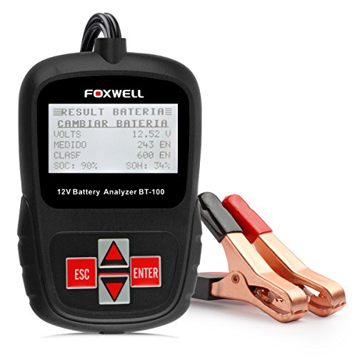 Foxwell BT100 Tester Batterie 12V 100-1100 Cold Cranking Amps Battery Load Tester Directly Detect Bad Cell Battery Diagnosi Battery Health
