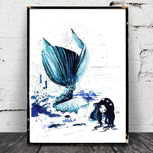 Meerjungfrau Aquarell Gestrandet Poster Print
