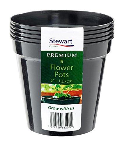 Stewart 4832014 Pot de Fleurs 12,7cm, Plastique, Noir, 12.7 cm