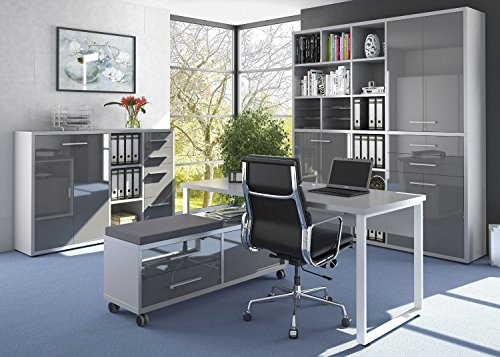 Büromöbel Komplettes Arbeitszimmer MAJA SET + Home Office 4-teilig - in Platingrau / Grauglas (Set 6)