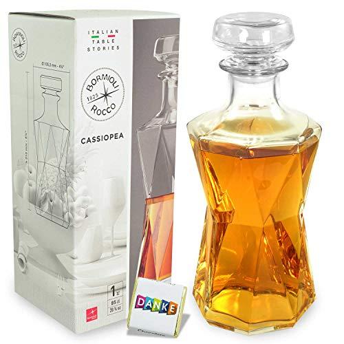 Bormioli Rocco Glas-Karaffe Cassiopea mit Stopfen 850 ml Fassungsvermögen | Spirituosen | Gin | Whisky | Cognac | Schnaps | Scotch | tolles Geschenk | modernes, edles Design | Made in Italy