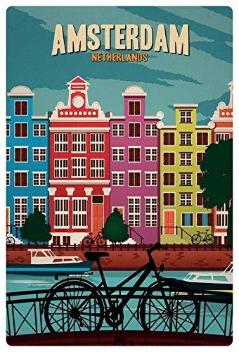 Metalen bord 20x30cm Amsterdam Netherland Gracht fiets bord Tin Sign