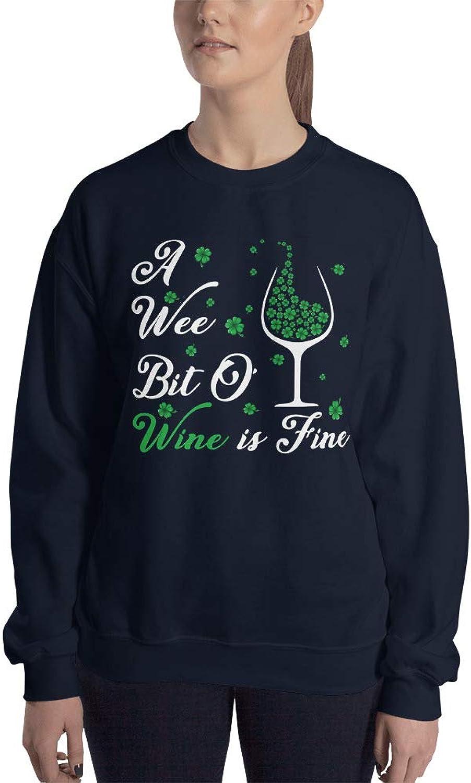 Payatek A Wee Bit O' Wine is Fine Sweatshirt St. Patrick's Day Present for Men Women