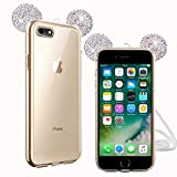 Fine Finet Coque iPhone 5S, Bling Strass Silicone Souple Case Adorable Mickey Oreille, Transparente...