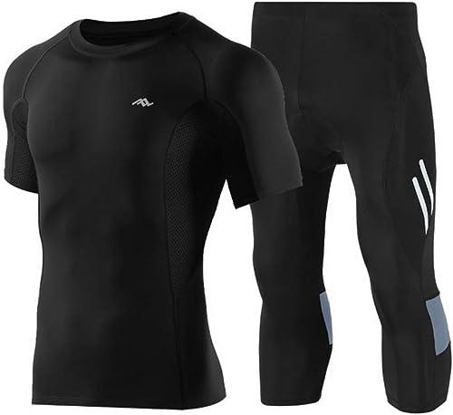 HOUYAZHAN Hommes à séchage Rapide Compression Sports Set T-Shirt à Manches Courtes Workout Fitness Body