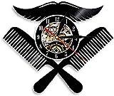 Barbershop Logo Disco de Vinilo Reloj de Pared Peluquero Rel