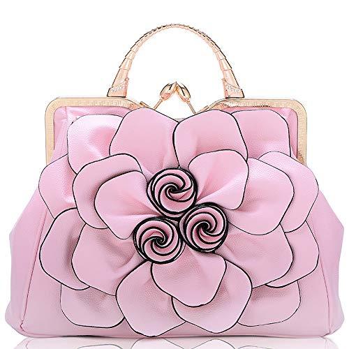 CZHJG Rucksack Tasche Frau Rose Blume Dame Handtasche Mode Lässig Umhängetasche Rosa