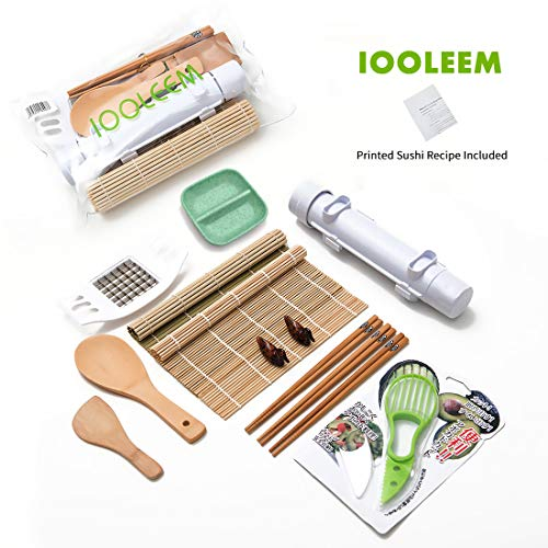 IOOLEEM 15 Pieces Sushi Making Kit, Ideal beginner's Sushi Maker, all-in-one sushi making set, Bamboo Sushi maker, Sushi Bazooka, Sushi mats