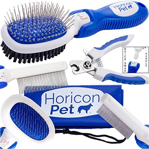 Horicon Pet Small Dog Brush Comb and Nail Grooming Set 6 in 1 Small Dog Grooming Tools Ball product image
