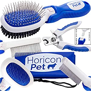 Horicon Pet Small Dog Brush Comb and Nail Grooming Set – 6 in 1 Small Dog Grooming Tools – Ball Pin & Bristle Brush, Slicker Brush, Detangling Comb, Flea Comb, Nail Clippers – for Small Dogs