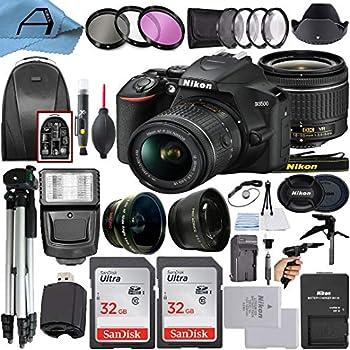 Nikon D3500 DSLR Camera 24.2MP Sensor with NIKKOR 18-55mm f/3.5-5.6G VR Lens 2 Pack SanDisk 32GB Memory Card Backpack Tripod Slave Flash Light and A-Cell Accessory Bundle  Black