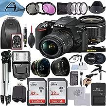 Nikon D3500 DSLR Camera 24.2MP Sensor with NIKKOR 18-55mm f/3.5-5.6G VR Lens, 2 Pack SanDisk 32GB Memory Card, Backpack, Tripod, Slave Flash Light and A-Cell Accessory Bundle (Black)