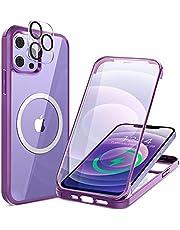 HAUTRKBG iPhone 12 ケース クリア 両面強化ガラス 360°全面保護 [MagSafe対応] [カメラフイルムを贈] [100%画面感度] マグセーフ ワイヤレス充電対応 米軍MIL規格取得 耐衝撃 アイフォン 12 透明 マグセーフ ケース・スマホケース iPhone 12 人気 6.1インチ(パープル)