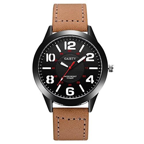 Uhren für Männer Wasserdicht Männer Edelstahl Business Armbanduhr Mann Runde Uhr Muster Quarzuhr Lederband Gürtel Tischuhren (Khaki)