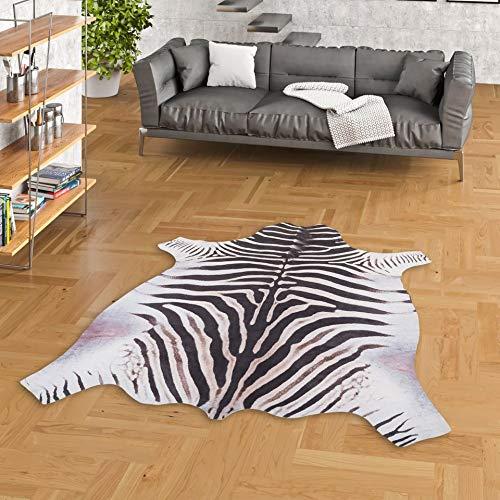 Pergamon Kunstfaser Teppich Zebra Schwarz Weiss in 3 Größen
