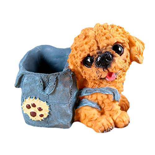 [クイーンビー] ミニチュア 犬 ペンスタンド ペン 立て かわいい おしゃれ 小さい 卓上 収納 ケース インテリア デスク アクセサリー 文具 文房具 鉛筆 事務用品 プレゼント (E)
