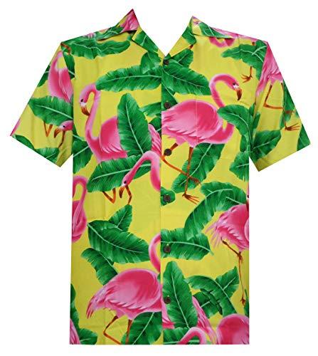Camisa hawaiana para hombre de manga corta Aloha para fiesta, casual, acampada, crucero de manga corta -  Amarillo -  Large