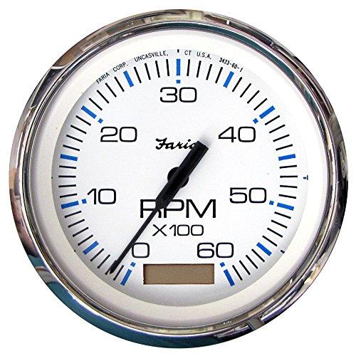 Faria 33832 Chesapeake Tachometer Gauge with Hourmeter Gas - White SS, 4