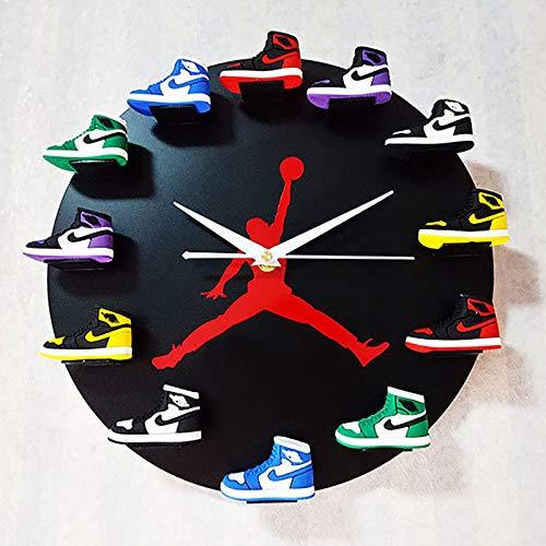 NXW Reloj De Pared con Mini Zapatillas 3D Decorado con Estilo De 1 A 12 Relojes, Reloj De Pared con Diseño Novedoso Zapatillas