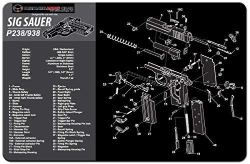 Ultimate Arms Gear Gunsmith and Armorer's Cleaning Work Tool Bench Gun Mat for Sig Sauer P238 P-238 P938 P-938 Pistol Handgun