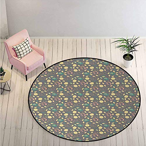 LiHomecurtain Round Rug Autumn Season Motifs with Hot Cocoa Coffee Cup Fallen Leaves and Cute Sleeping Cats Print Mat Carpet Gave Your Room The Pop of Color Multicolor Diameter - 5 Feet